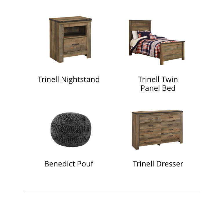 Trinell Nightstand, Duscan Accent Mirror, Seventy 5-Piece Comforter Set, Benedict Pouf, Trinell Dresser, Makeika Floor Lamp
