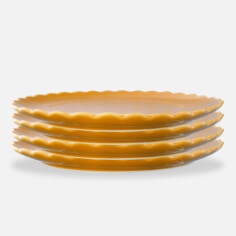 Creative Co-op Scalloped Set of 4 Plates