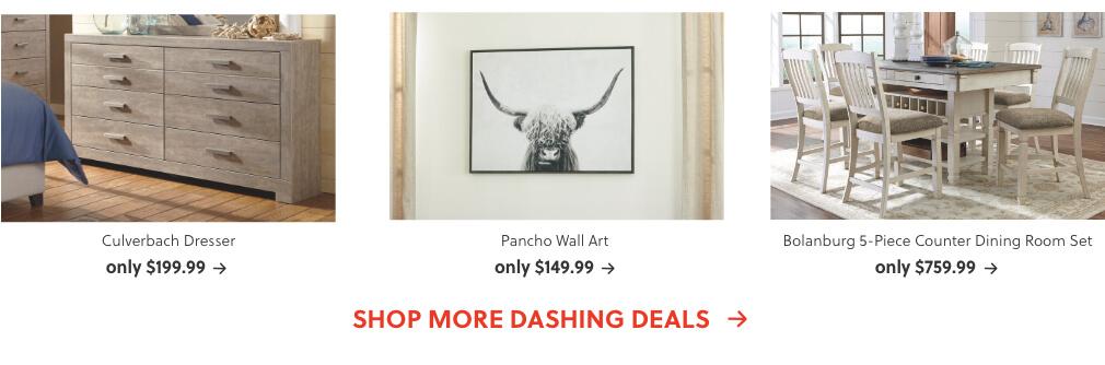 Culverbach Dresser, Pancho Wall Art, Bolanburg 5-Piece Counter Dining Room Set