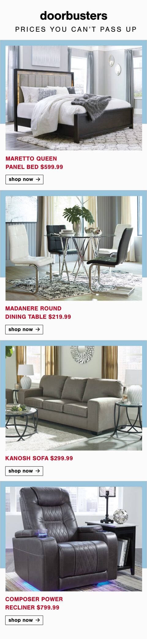 Maretto Queen Panel Bed, Madanere Round Dining Table, Kanosh Sofa, Composer Power Recliner
