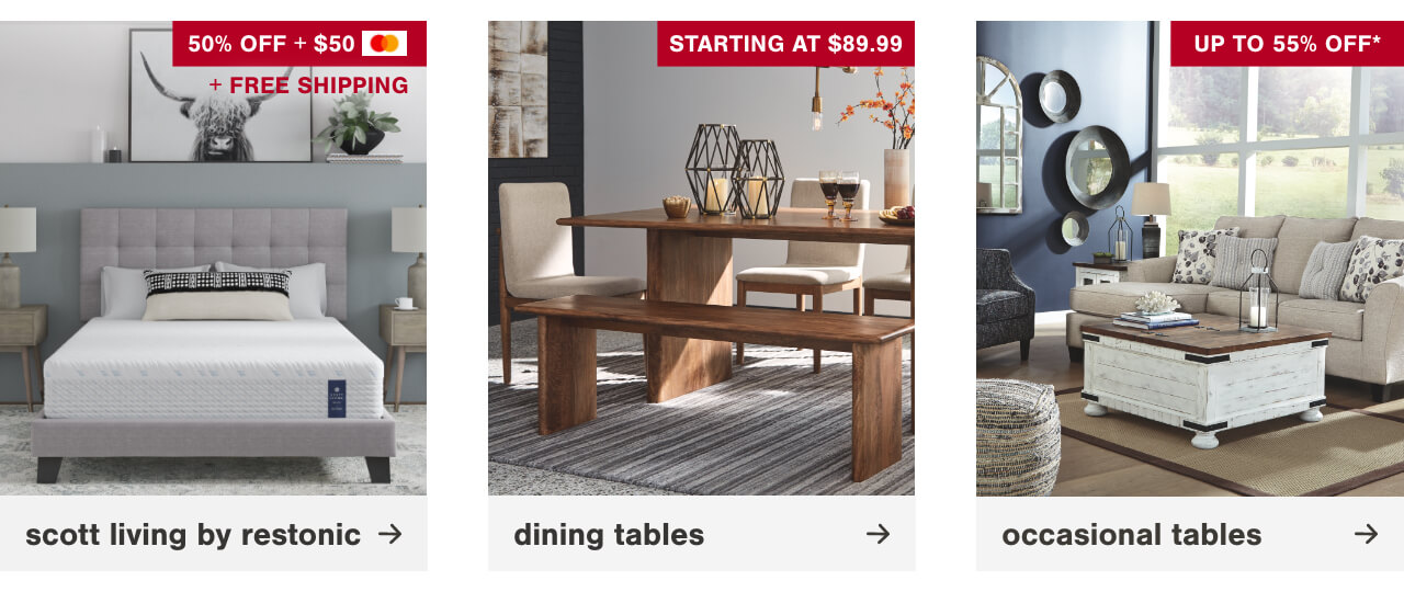 Scott Living by Restonic, Dining Tables Starting at $89.99, Coffee and End Table Sets Up to 35% Off
