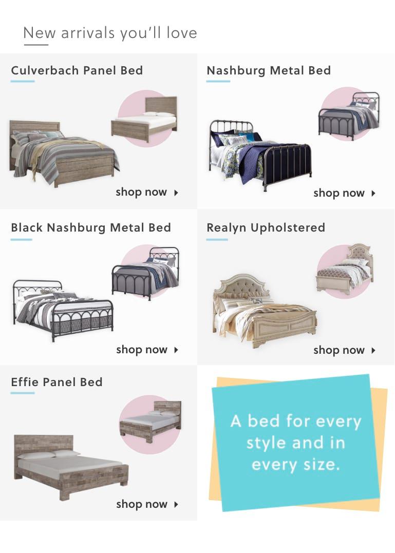 Culverbach Queen Panel Bed, Nashburg Queen Metal Bed, Realyn Queen Upholstered Panel Bed, Effie Queen Panel Bed