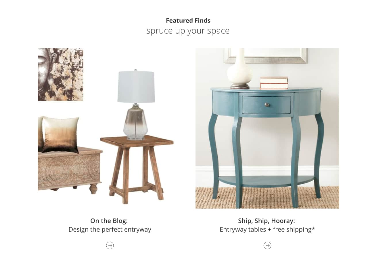 Design the perfect entryway, Entry Tables with Free shipping*