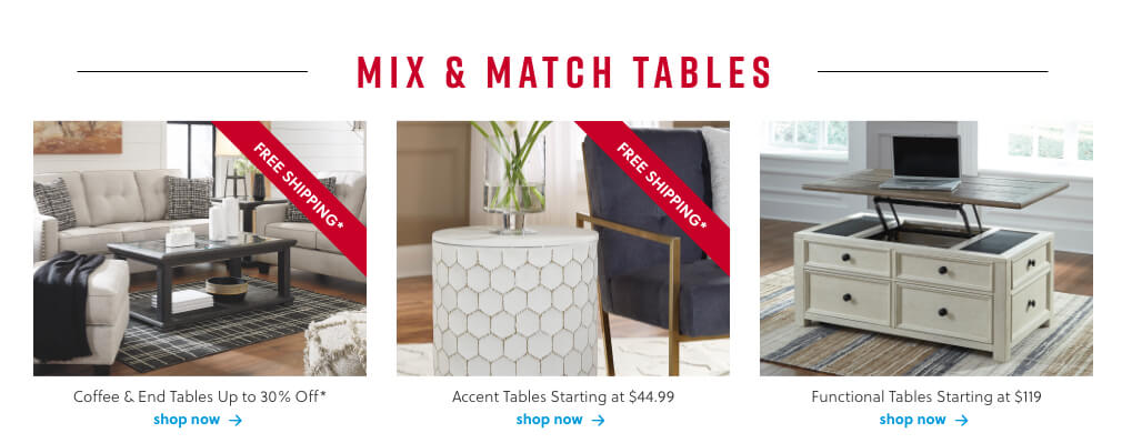 Coffee and End Tables, Accent Tables, Functional Tables