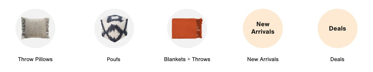 Textiles: throw pillows, poufs, blankets, new arrivals and deals