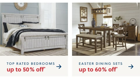 Two 5 Star Bedroom Collections Up to 50% Off* (featuring the Lakeleigh and The Brashland), Dining up to 60% Off*