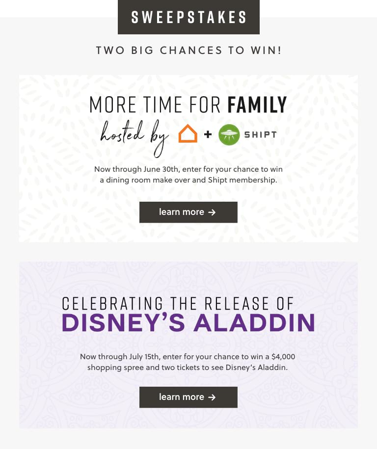 More Time For Family and Aladdin Sweepstakes