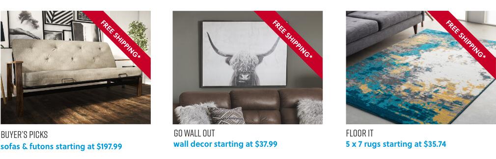 Sofa and Futons, Wall Decor, Area Rugs