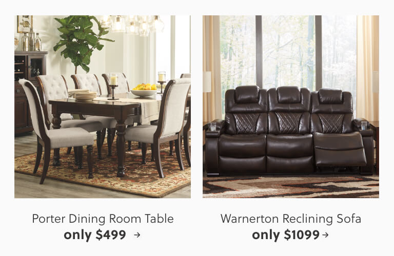 Porter Dining Room Table, Warnerton Reclining Sofa