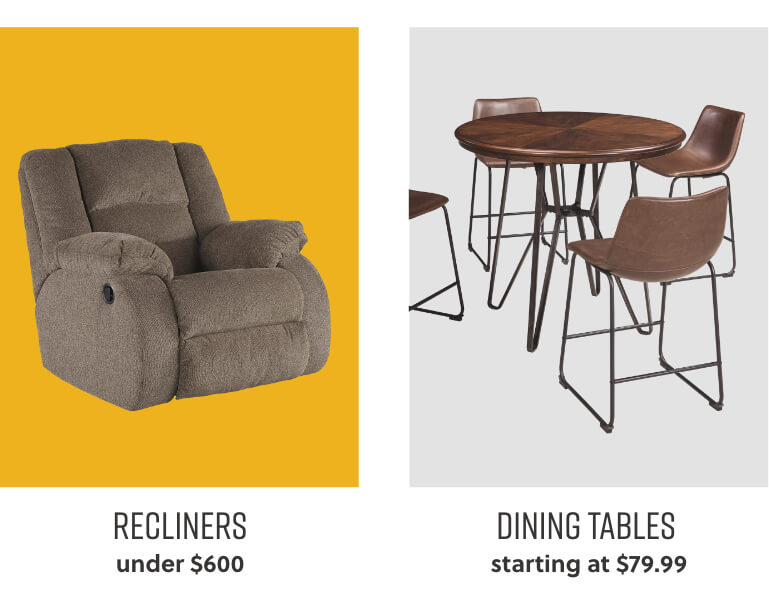 Recliners, Dining Tables