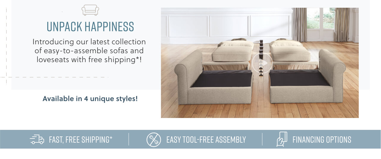 Easy to assemble sofas and loveseats with free shipping