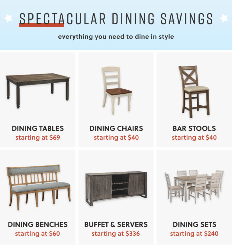 Dining Tables, Dining Chairs, Bar Stools, Dining Benches, Buffet and Servers, Dining Sets