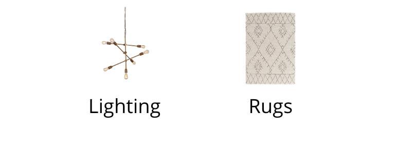 Lighting, Rugs