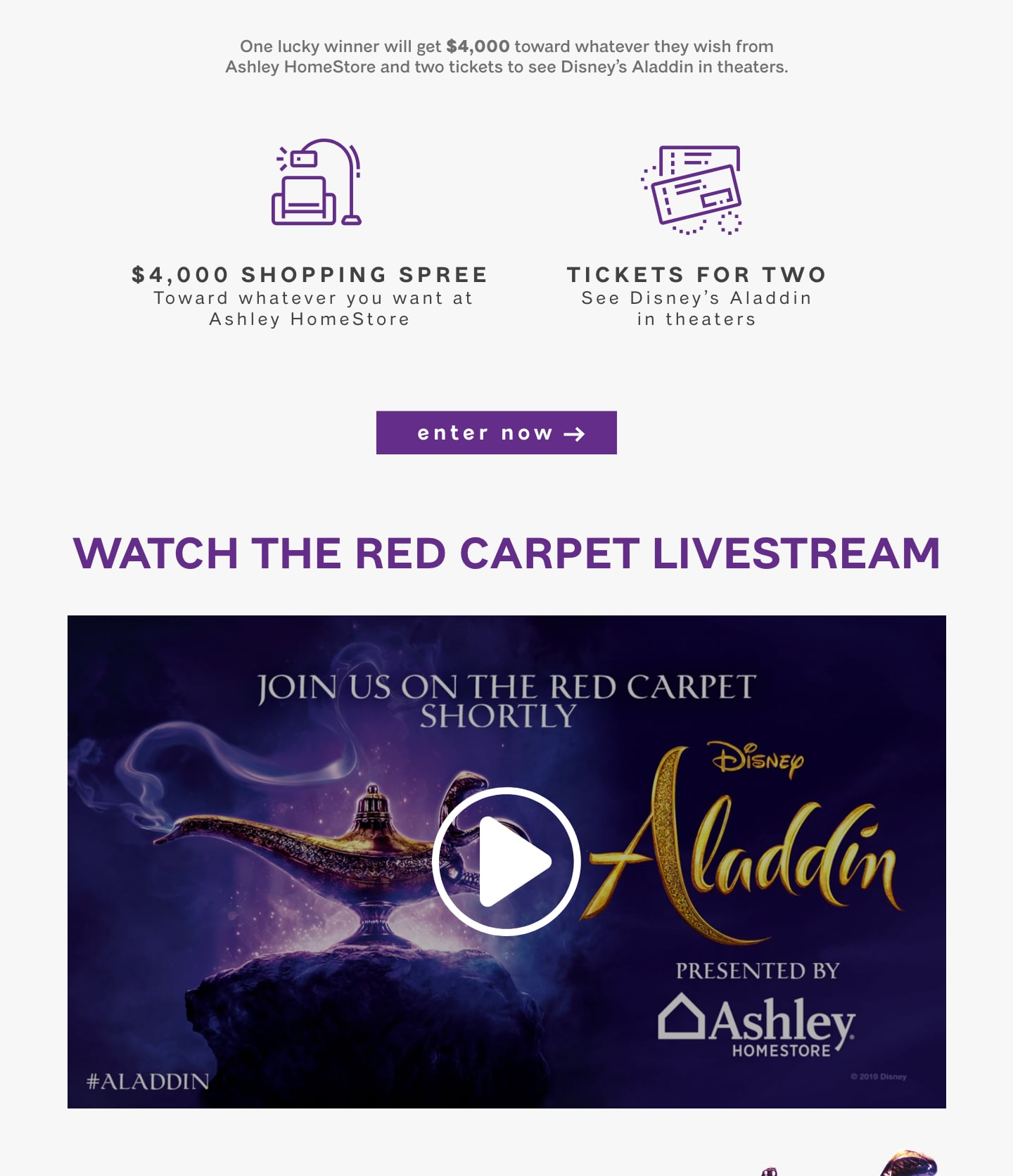 Ashley HomeStore Sweepstakes Celebrating the Release of Disney's
