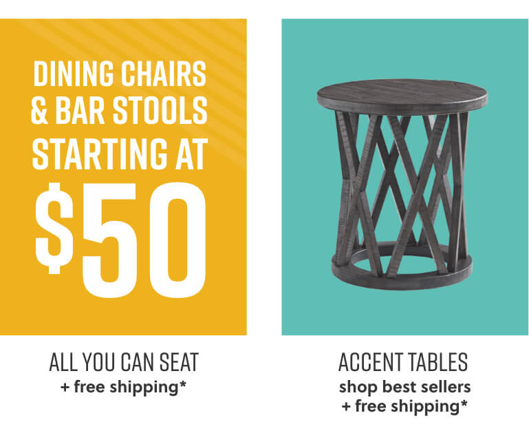 Dining Chairs, Bar Stools, Accent Tables