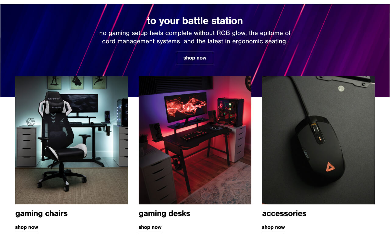 Gaming Chairs, Gaming Desks, Gaming Accessories