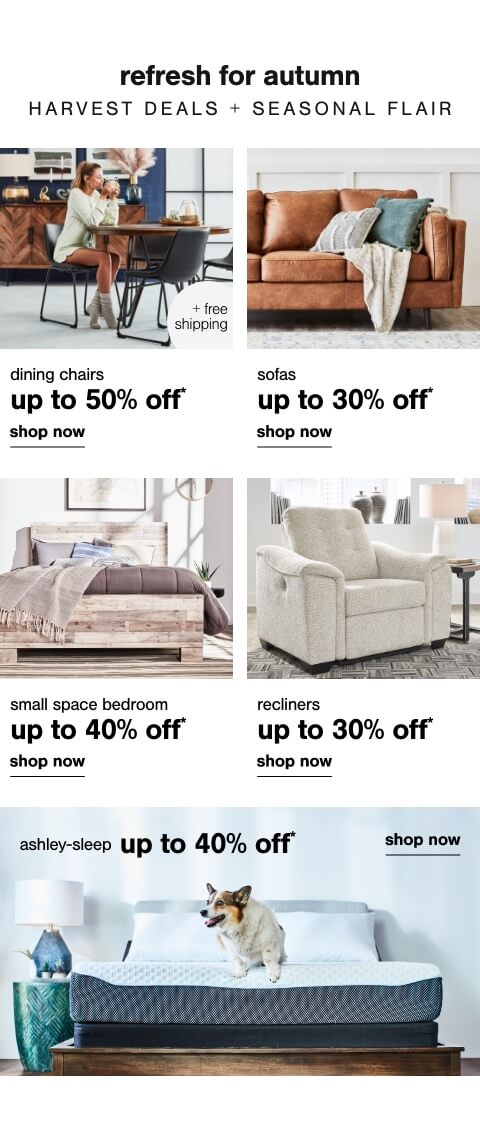 Ashley Sleep up to 40% off      ,  Dining Chairs Up to 50% Off + Free Shipping , Sofas Up To 30% Off  , Small Space Bedroom Furniture You will Love Up to 40% Off ,  Recliners Up To 30% Off