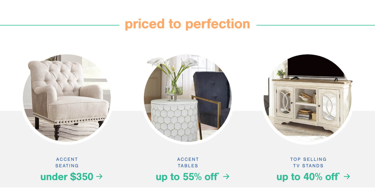 Accent Seating under $350   , Accent Tables up to 55% Off + Free Shipping       ,New Arrivals up to 60% Off*                                                                                       				,New Arrivals up to 60% Off* + Free Shipping , Up to 70% Off* Select Rugs + Free Shipping