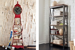 Shayneville Bookcase and Mercana Wall Clock - Etagere