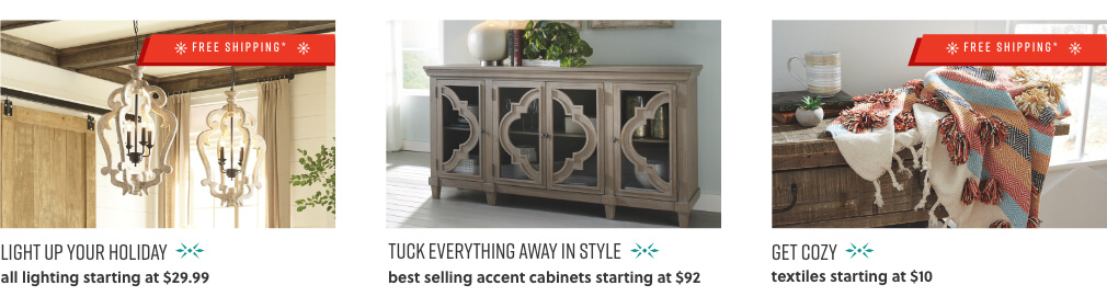 Home Lighting, Best Selling Accent Cabinets, Textiles Blankets