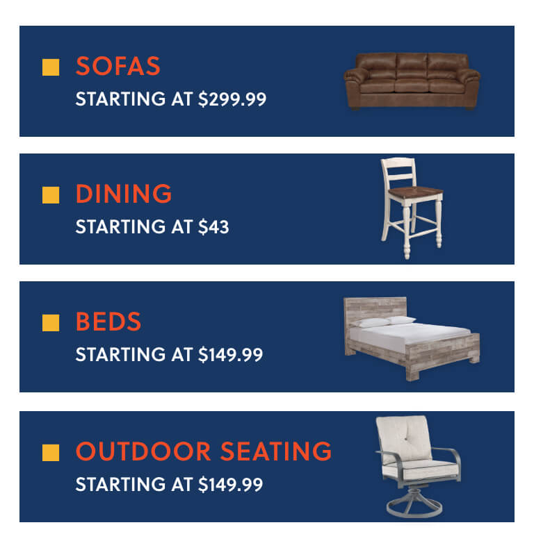 Sofas, Dining, Beds, Outdoor Seating
