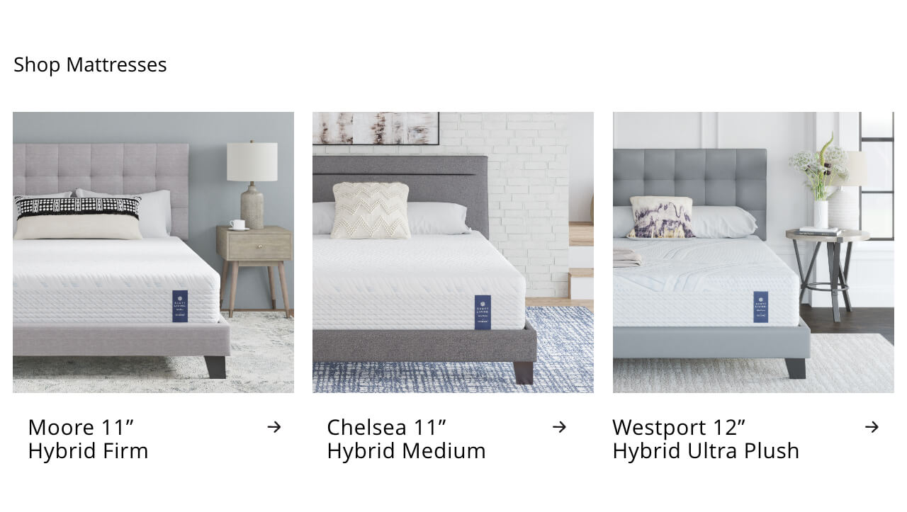 Moore Hybrid Firm, Chelsea Hybrid Medium, Westport Hybrid Ultra Plush