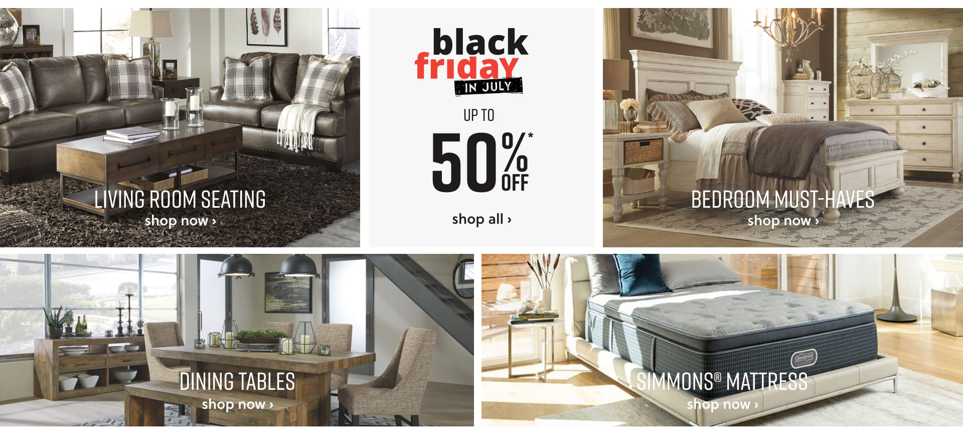 Shop Ashley Furniture HomeStore Black Friday in July up to 50% off*