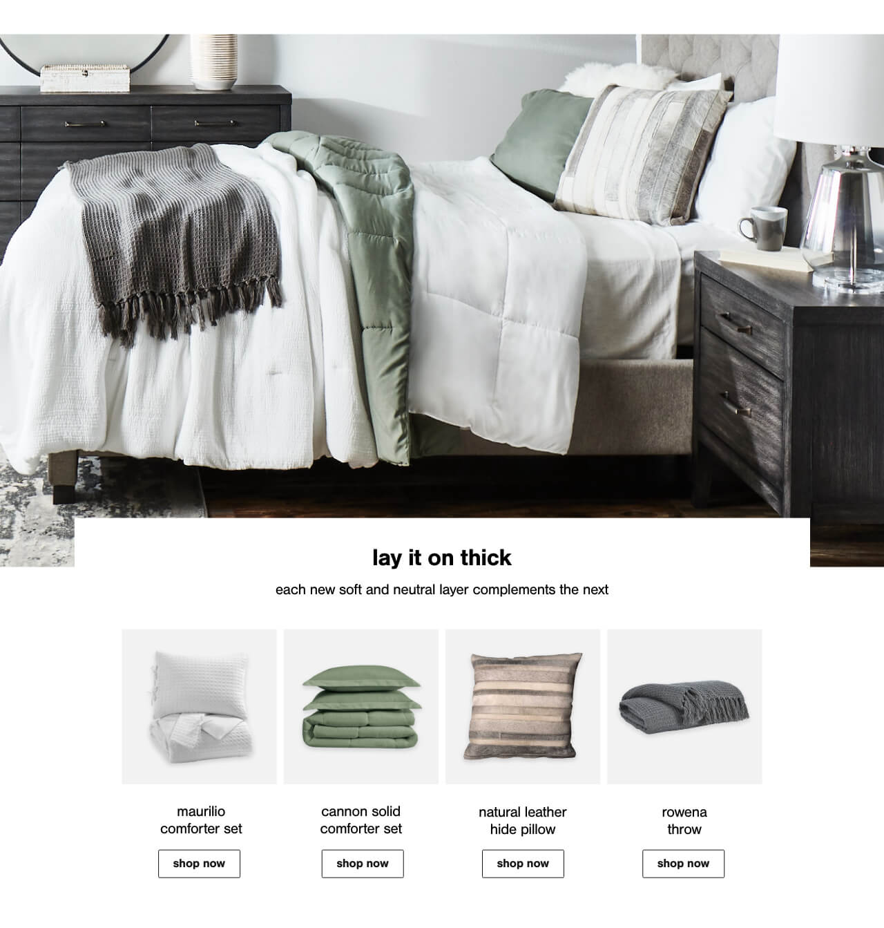Maurilio Comforter Set, Cannon Solid Comforter Set, Natural Leather Hide Pillow,Rowena Throw