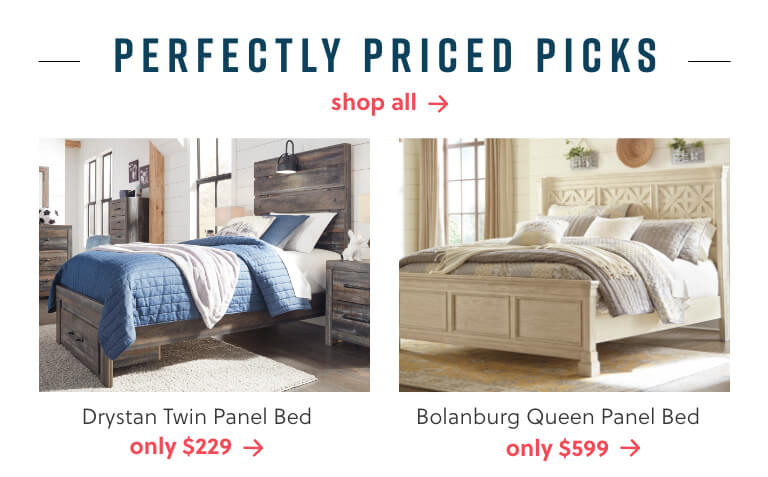 Drystan Twin Panel Bed, Bolanburg Queen Panel Bed