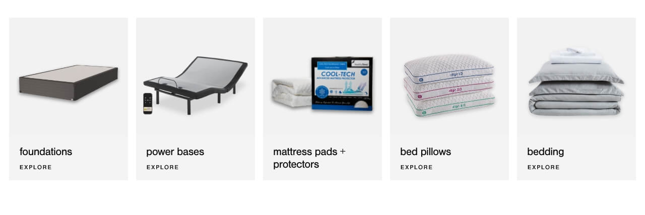 Foundations, Power Bases, Mattress Pads & Protectors, Bed Pillows, Bedding
