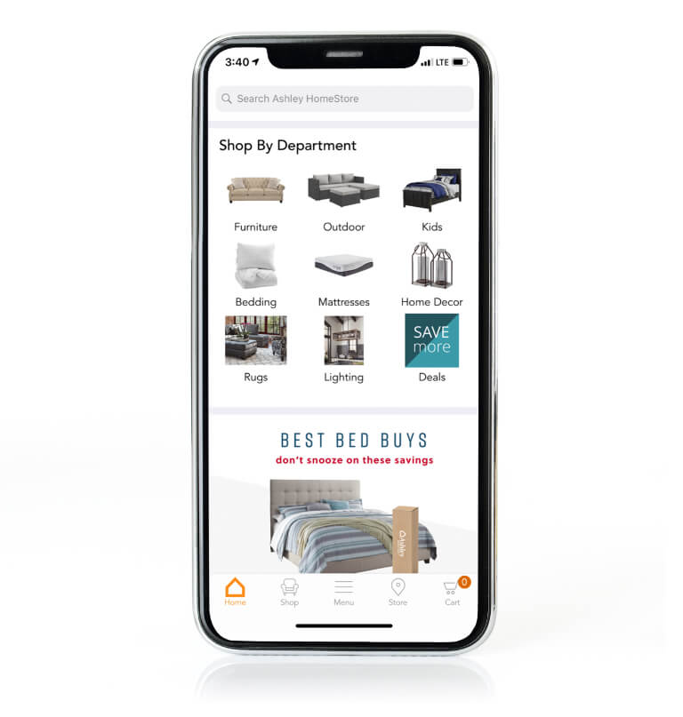 The Ashley Furniture mobile app uses augmented reality to allow you to view Ashley Furniture in your own home and buy furniture on the go