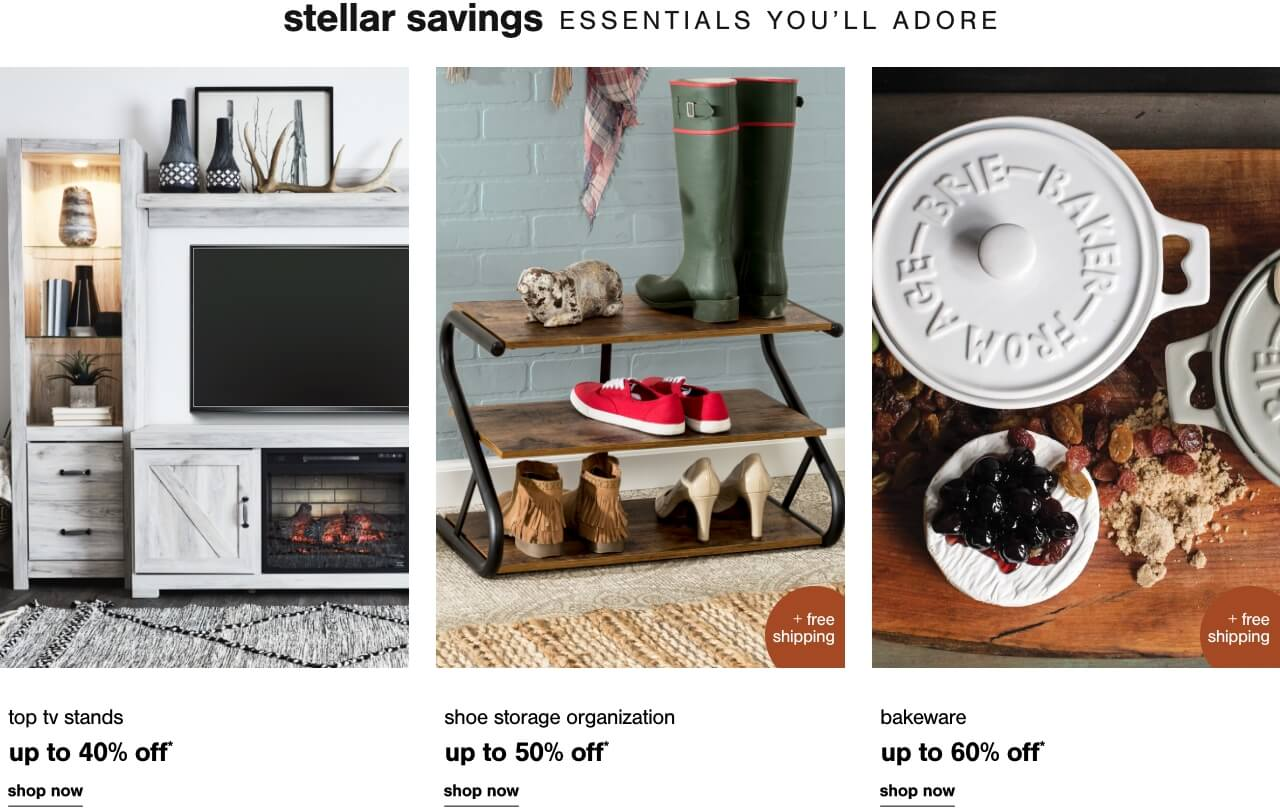 Top TV Stands Up to 40% Off ,Sofas up to 40% off,Up to 60% Off Bakeware + Free Shipping