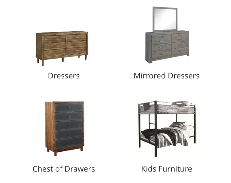 Dressers, Mirrored Dressers, Chest of Drawers, Storage