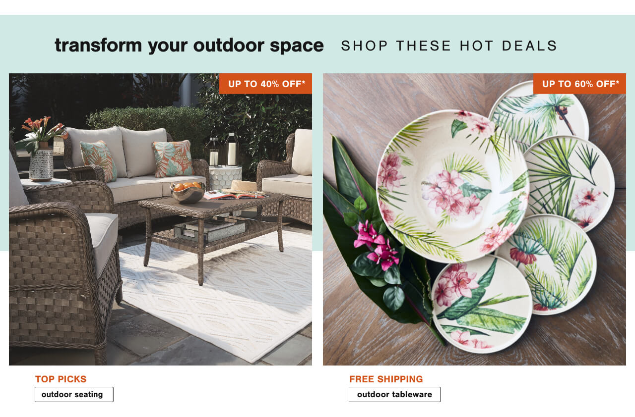 Bring your space to life with outdoor new arrivals up to 40% off! ,Outdoor Dining & Entertaining- Up to 60% Off + Free Shipping