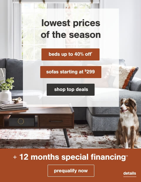 Lowest Prices of the Season! Beds up to 40% Off* and Sofas Starting at $299 + 12 months special financing††.No Minimum Purchase or Down Payment Required on Ashley Advantage(TM) Synchrony purchases. ††Subject to Credit Approval. Minimum Monthly Payments Required.