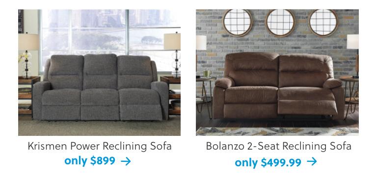 Krismen Power Reclining Sofa, Bolanzo 2-Seat Reclining Sofa