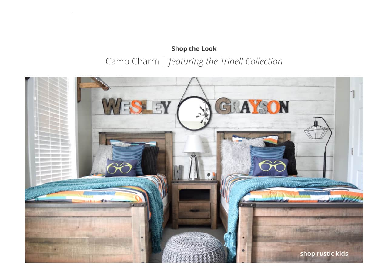 Kids to king beds rustic retreat featuring the trinell collection