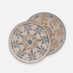 Round Stoneware Thistle Set of 6 Plates