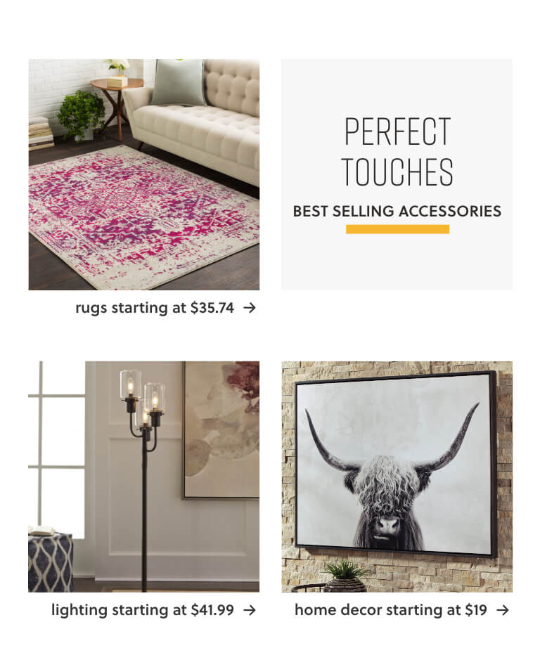 Rugs Starting at $35.74,Lighting Starting at $41.99,Home Decor Starting at $19