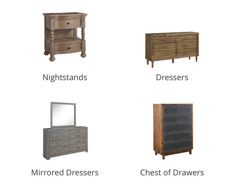 Nightstands, Dressers, Mirrored Dressers, Chest of Drawers