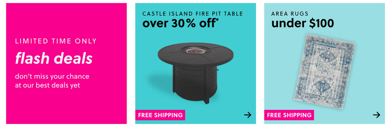 Castle Island Fire Pit Table Over 30% Off! Free Shipping, Raventown Bookcase Over 45% Off + Free Shipping, Area Rugs Under $100 + Free Shipping