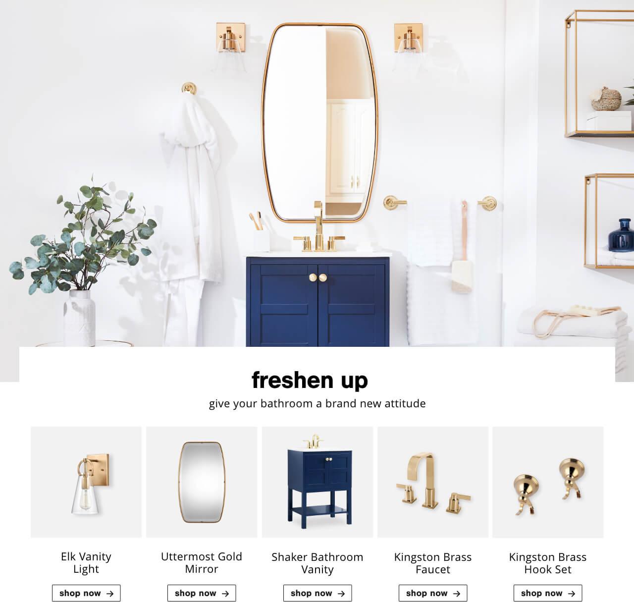 Elk Vanity Light,Uttermost Gold Mirror,Shaker Bathroom Vanity,Kingston Brass Faucet,Kingston Brass  Hook Set