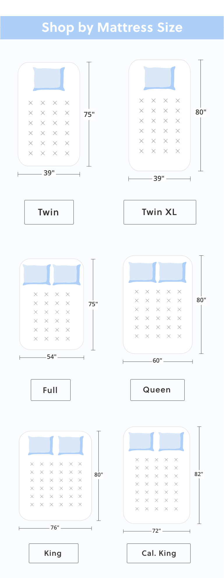 Twin Mattress, Twin XL Mattress, Full Mattress, Queen Mattress, King Mattress, California King Mattress