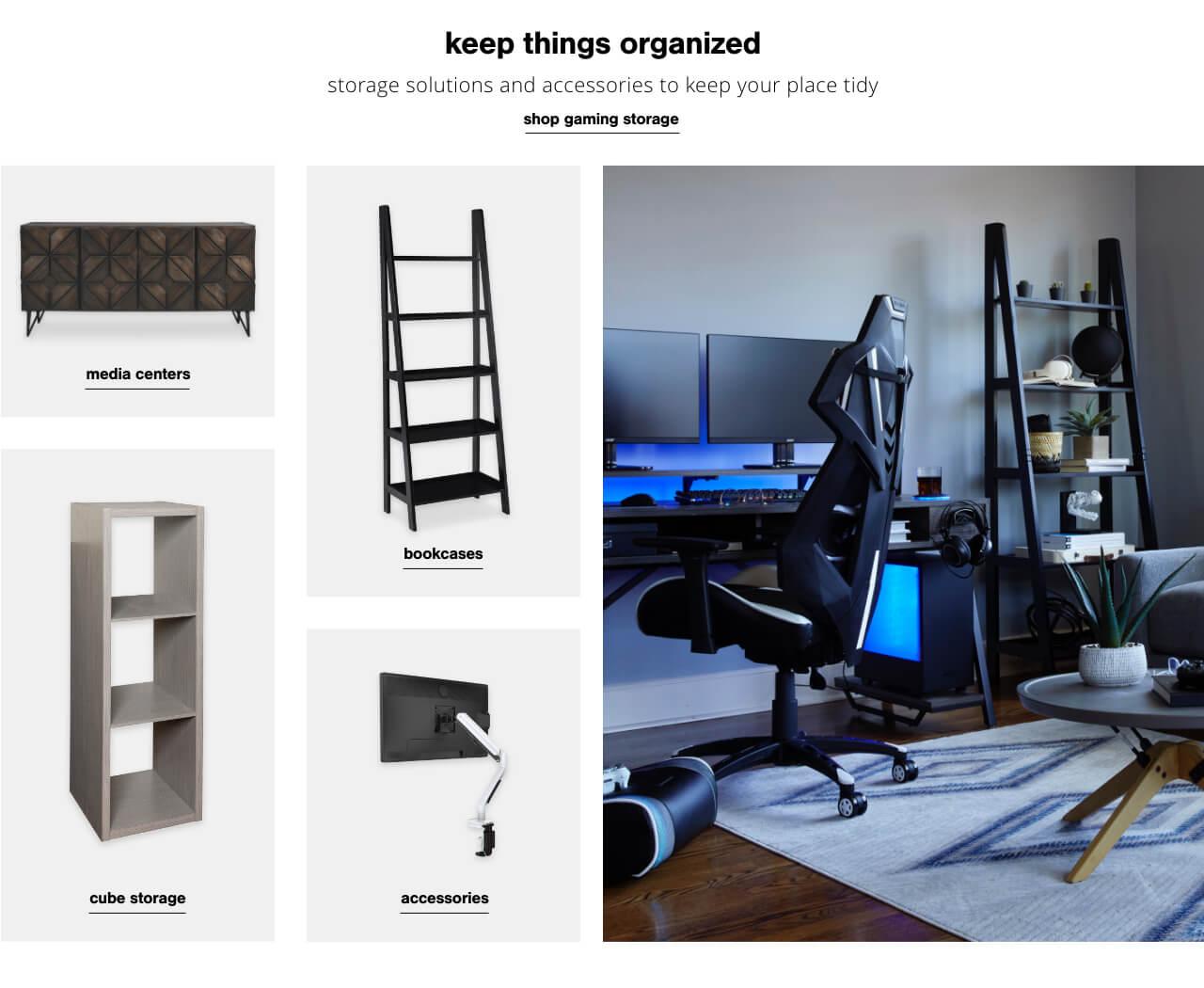 Bookcases, Media Centers,Cube Storage, Accessories