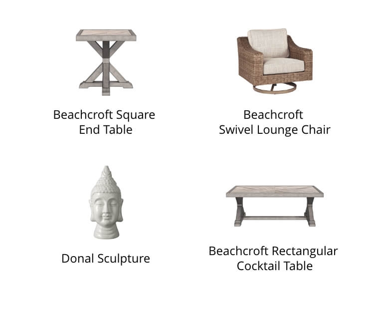 Beachcroft Square End Table, Beachcroft Armless Chair, Asho Rug, Beachcroft Rectangular Cocktail Table