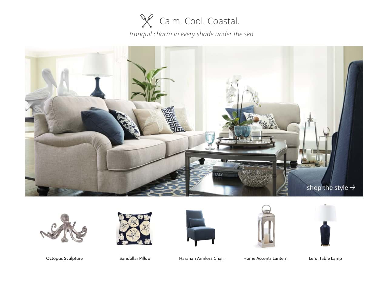 Blue and White Coastal Style Furniture