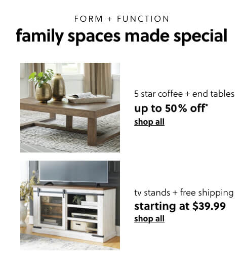 Up to 50% Off* our 5 Star Coffee and End Tables,TV Stands s/a $29.99 + Free Shipping