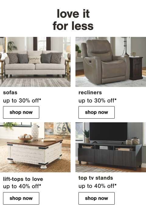 Living Room Price Cuts, End and Side Tables, Top Selling TV Stands, Sofas