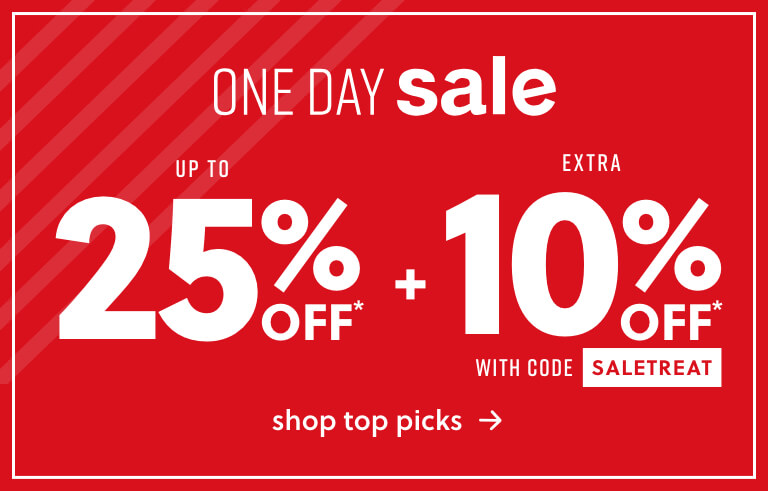 ONE DAY SALE: upt 25% + Extra 10% Off