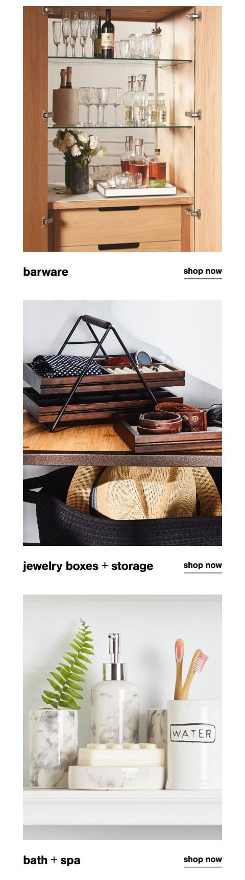 Barware, Jewelry Boxes & Storage, Bath & Spa